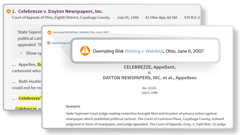 KeyCite Overruling Risk on Westlaw Edge
