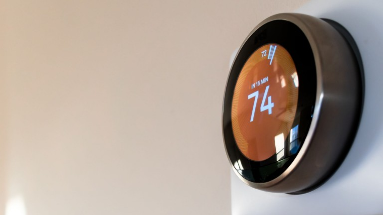 2880x1100 of a smart home thermostat