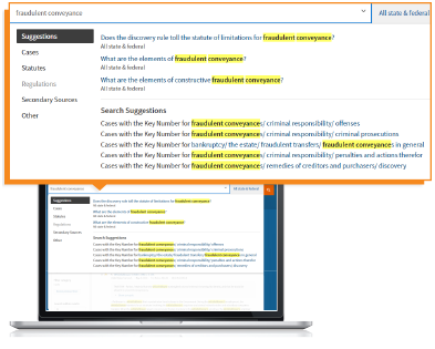 Westlaw Edge - WestSearch Plus search step one