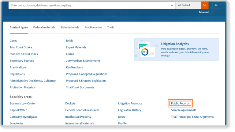 PeopleMap - Public Records Search | Thomson Reuters Legal