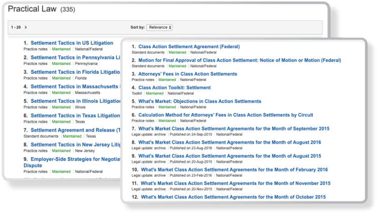 Practical Law resources screenshot