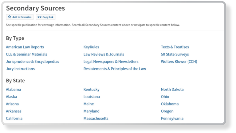 Westlaw Edge Authoritative Content Secondary Sources Screenshot