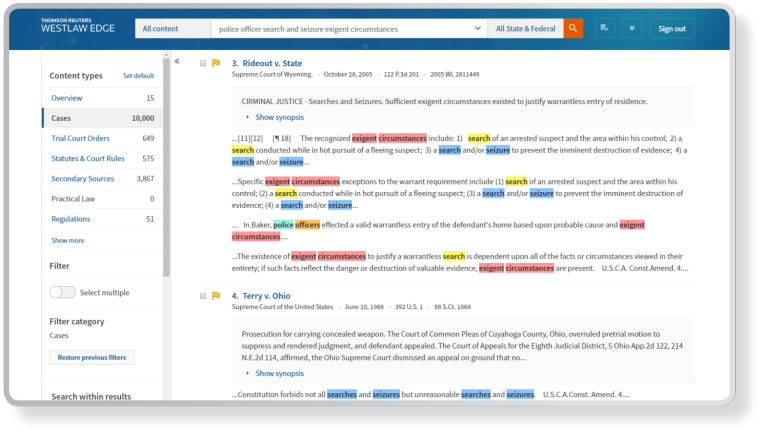 Focus on the terms that are most important with Select highlighting on WestSearch Plus