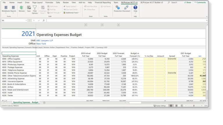 Example interface of the Advanced Financial Solutions from Thomson Reuters with a focus on budgeting and forecasting