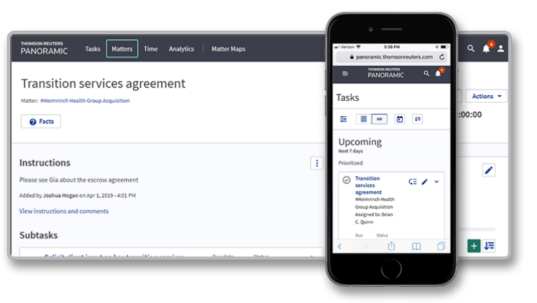 Screenshot of tasks in Panoramic