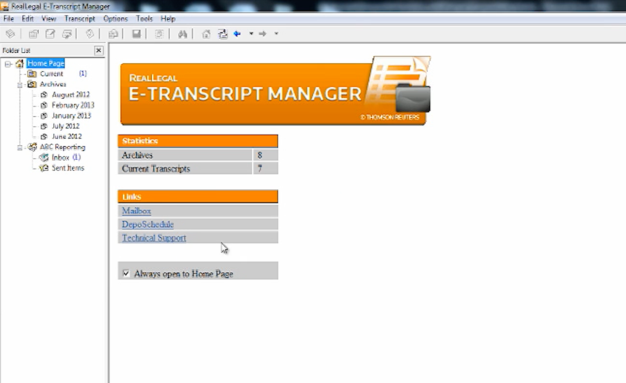 E-Transcript Manager Home Page