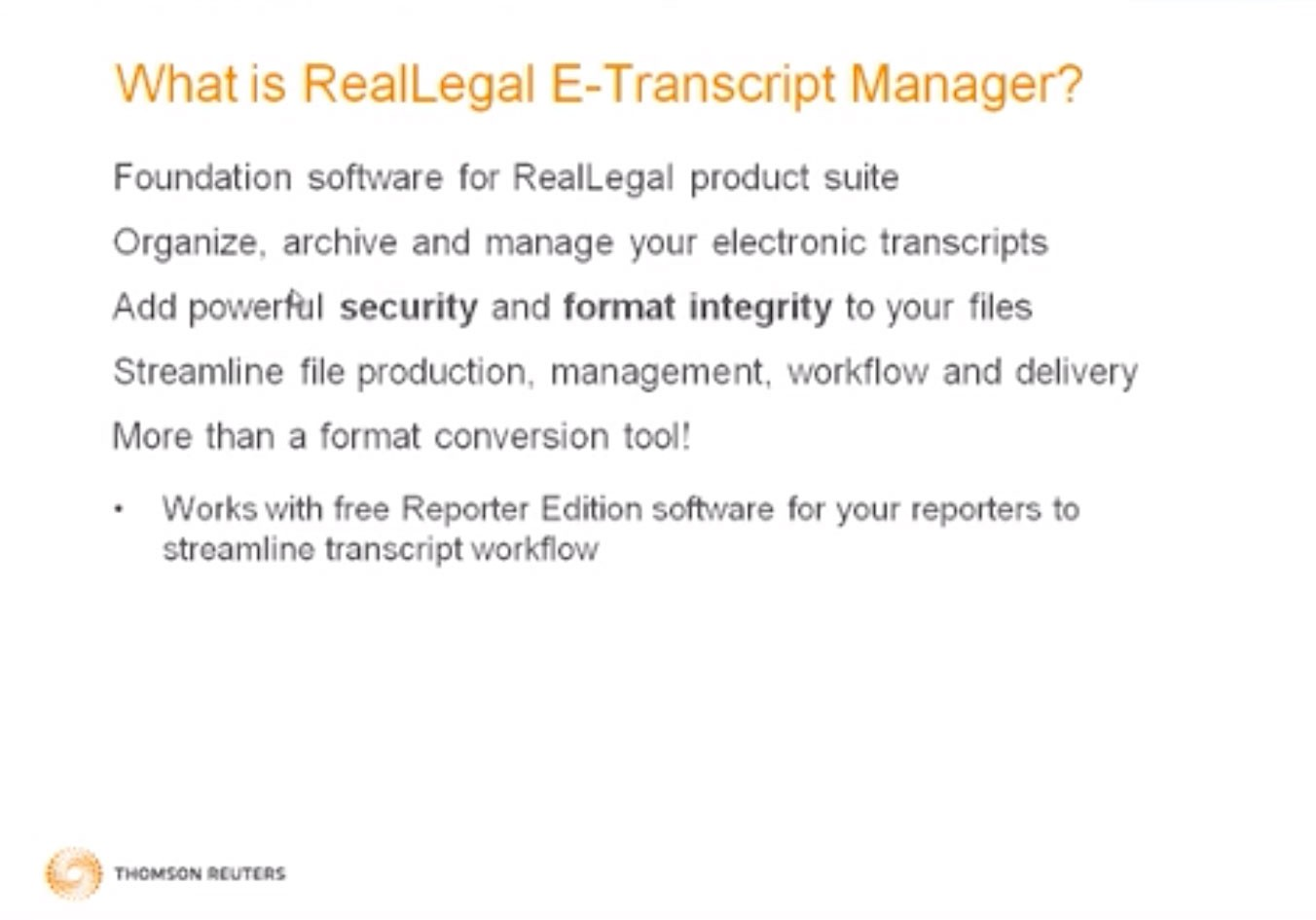 What is RealLegal E-Transcript Manager video