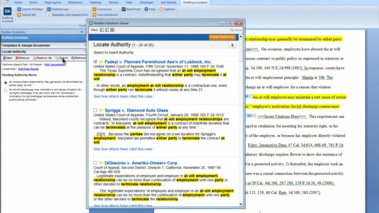 Drafting Assistant screenshot of Microsoft Word Plugin